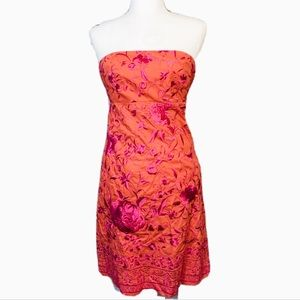 ANTHROPOLOGIE Beth Bowley Floral Strapless Dress
